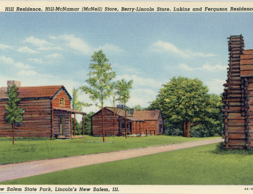 Postcard depicting the Hill residence, the Hill-McNamar (McNeil) store, the Berry-Lincoln store, and the Lukins and Ferguson residence at Lincoln's New Salem