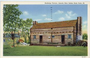 Postcard depicting the Rutledge Tavern at Lincoln's New Salem