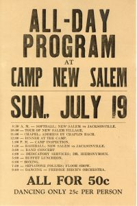 Flyer advertising an all-day program at Camp New Salem