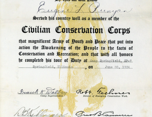 Certificate of completion for CCC tour of duty for Eugene Runyan