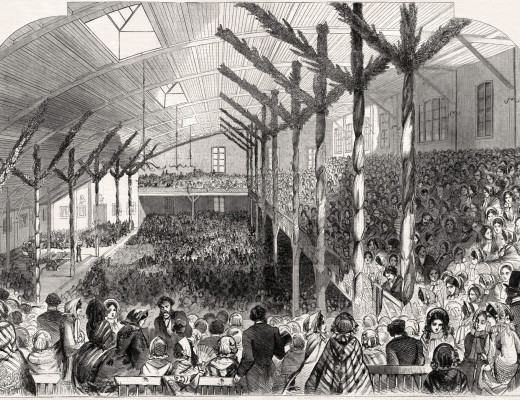 Illustration depicting the crowded interior of the