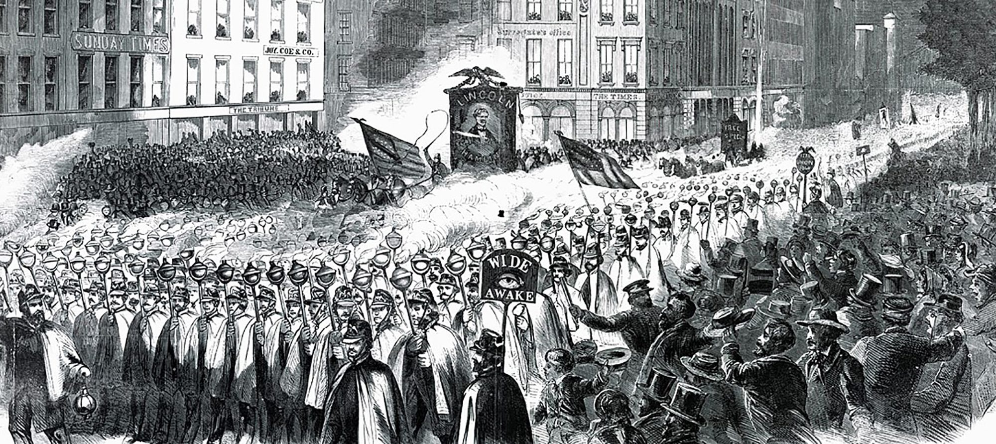 Illustration depicting a procession of Wide Awakes on the streets of New York