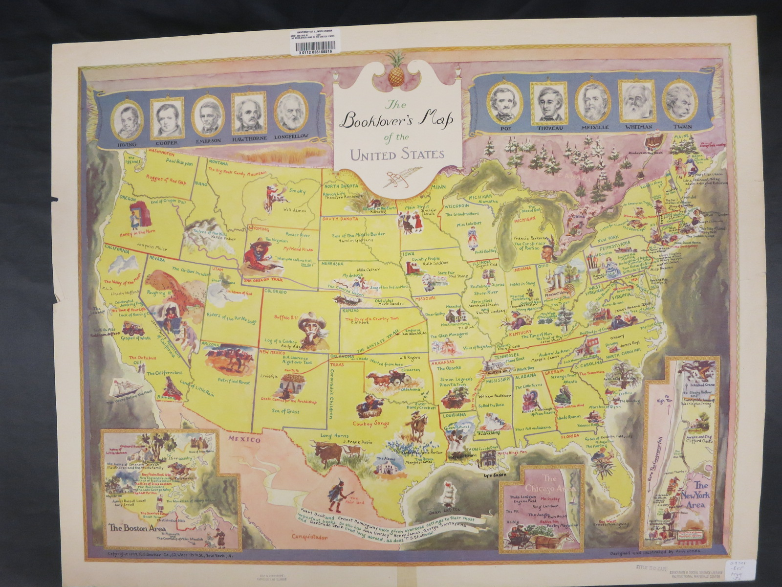 The Booklovers Map of the United States Map Library