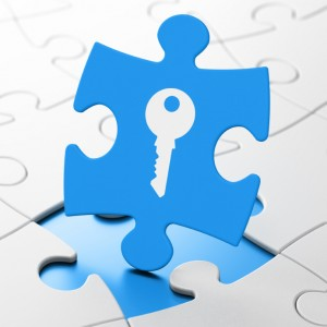 Security concept: Key on Blue puzzle pieces background, 3d render