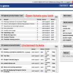 Screenshot of tickets you own, unclaimed tickets, and main menus